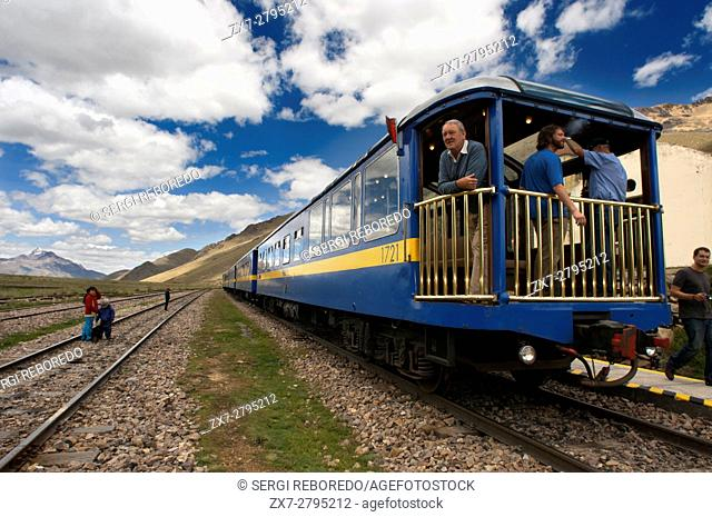 La Raya pass, Puno, Peru. Andean Explorer, luxury train from Cusco to Puno. In half the distance the train makes a stop along the way at a place called La Raya