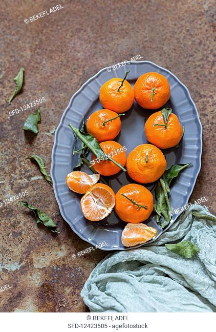 Mandarins on a serving platter