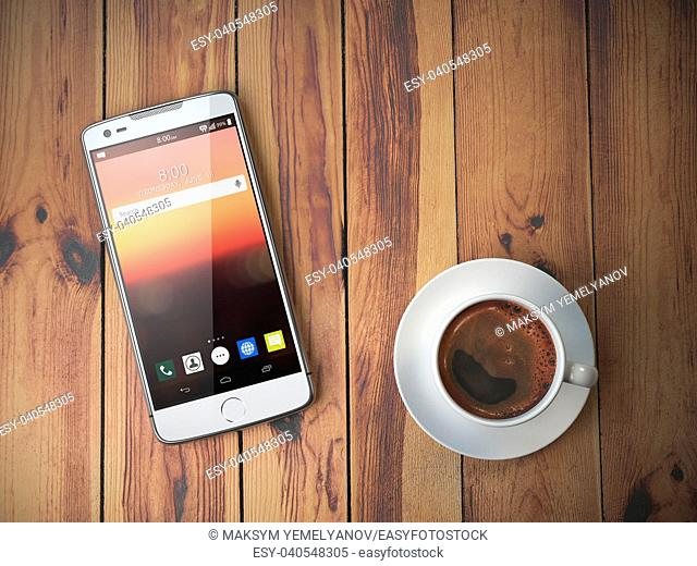 Mobile phone and coffee cup on wooden background. 3d illustration