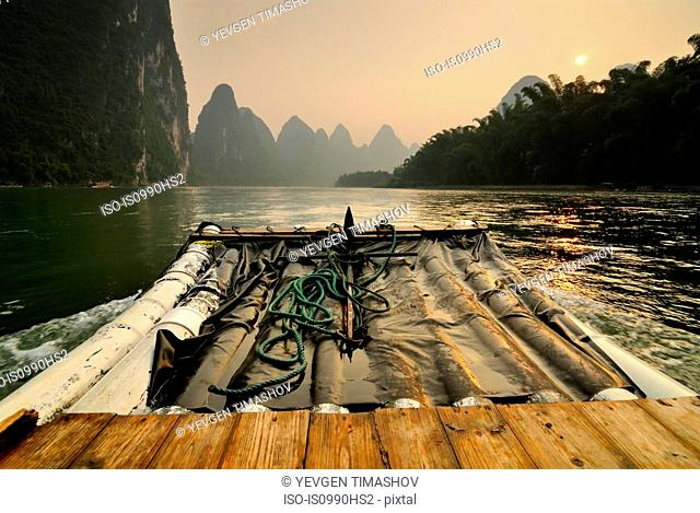 Bamboo boat on Li River, Guilin, China