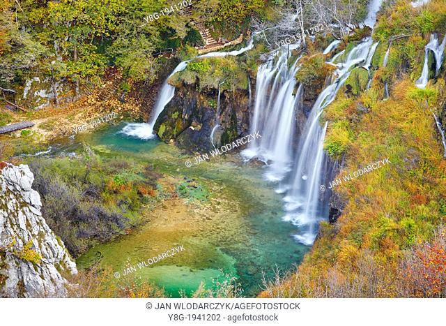 Croatia - autumn in Plitvice Lakes National Park, natural waterfall, protected area in central Croatia, UNESCO