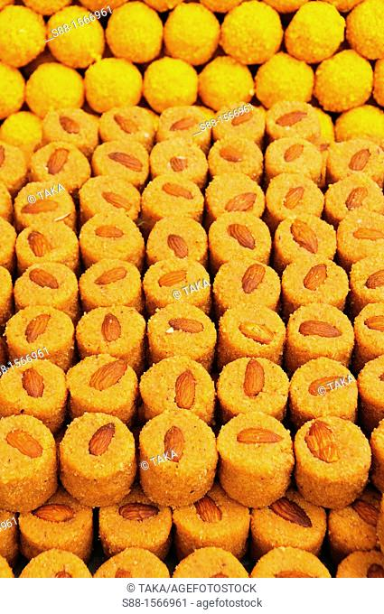 Sweet Indian cake at the market a day before Diwali festival