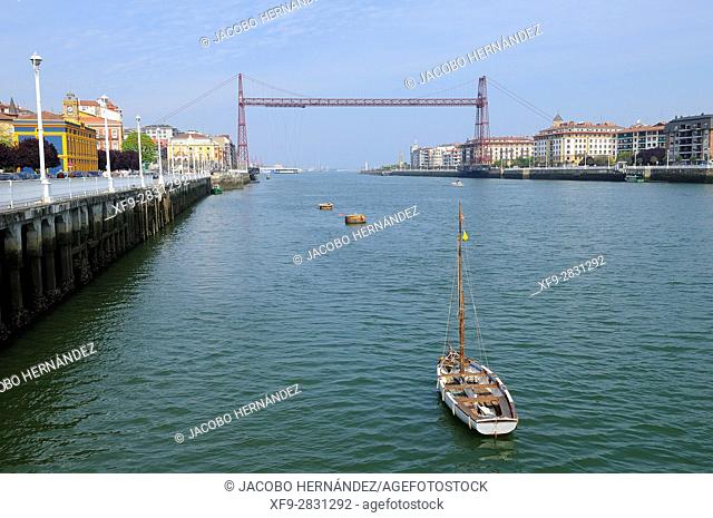 Vizcaya bridge.Nervión river.Portugalete.Vizcaya province.País Vasco.Spain
