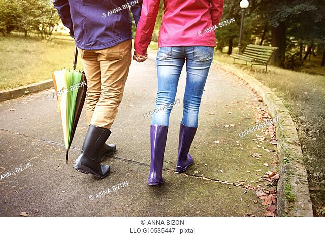 Walking in rainy day with special person. Debica, Poland