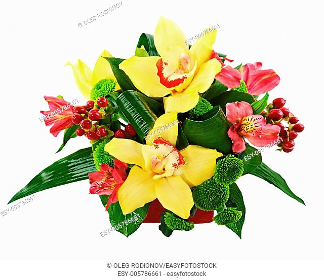 Bouquet from orchids and lilies in vase isolated on white background. Closeup