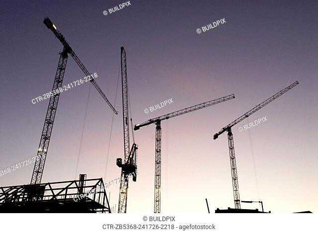 Tower cranes at the regeneration of Ipswich Docks, UK