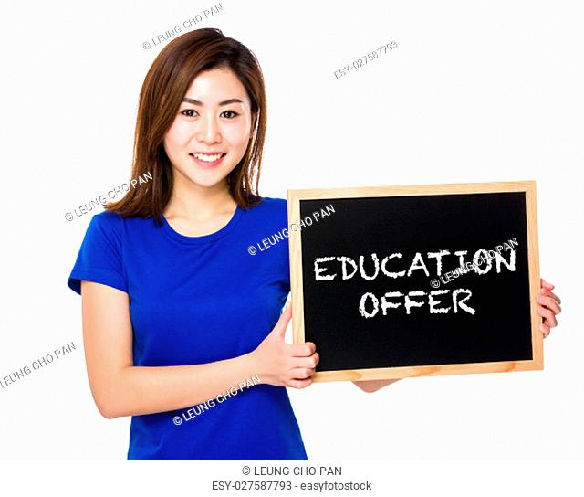 Young woman with blackboard showing education offer