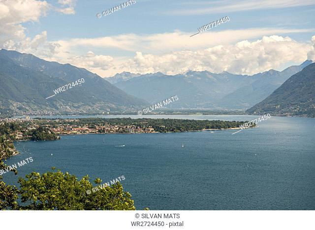 Alpine lake Maggiore and mountain in a sunny day in Ascona, Switzerland