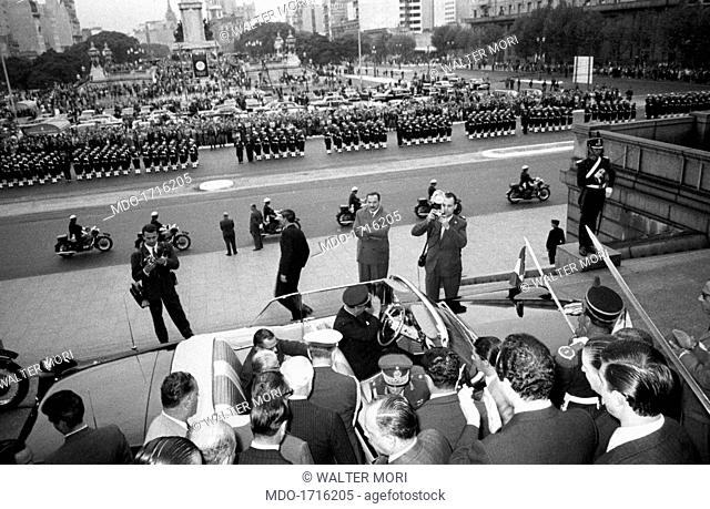 Huge military parade in honour of Giovanni Gronchi. A huge military parade in honour of the President of the Italian Republic Giovanni Gronchi visiting...