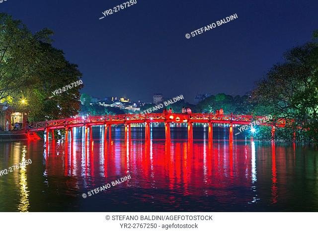 The Huc bridge to Ngoc Son temple on Hoan Kiem lake, Hanoi, Vietnam