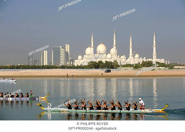 DRAGON BOAT RACE WITH THE SHEIKH ZAYED MOSQUE IN THE BACKGROUND, ABU DHABI, CAPITAL OF THE UNITED ARAB EMIRATES, MIDDLE EAST