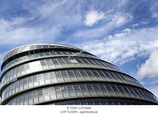 England, London, Southwark, The modern exterior of City Hall on the south bank of the River Thames