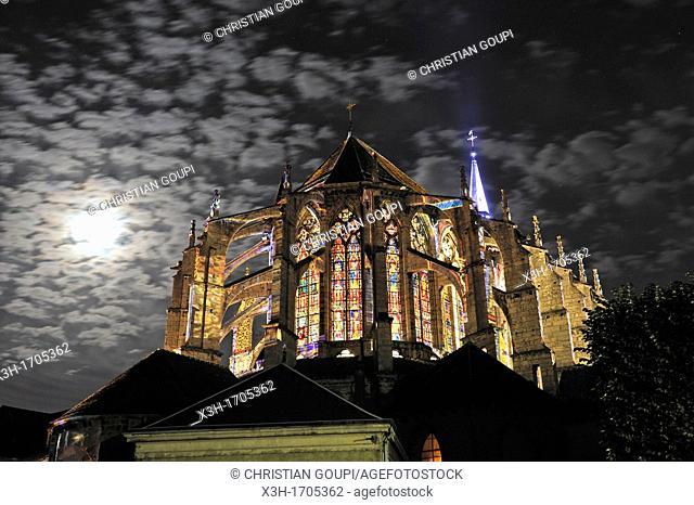 lightening of the Saint-Pierre Church, Chartres, Eure-et-Loir department, Centre region, France, Europe