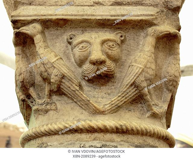 Medieval capital columns, Crypt of Basilica of Saint Nicholas (Basilica di San Nicola), Bari, Apulia, Italy
