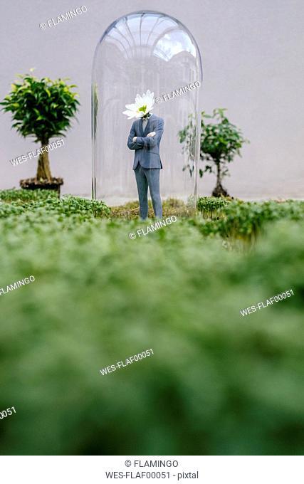 Businessman figurine with flower head standing park under bell jar