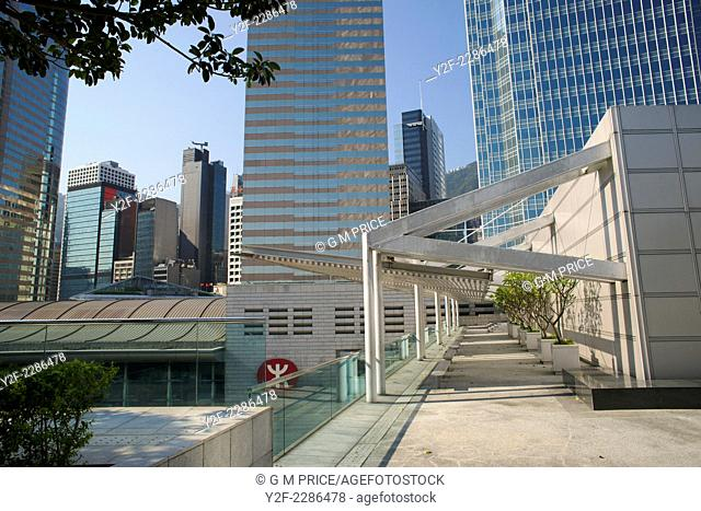 roof of IFC shopping complex and commercial building skyline, Hong Kong