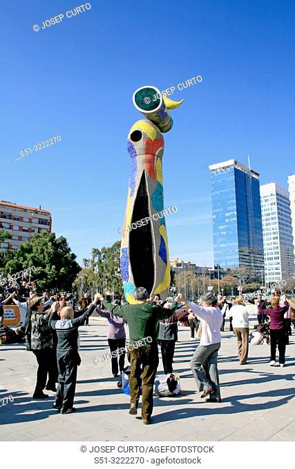 Sculpture by Joan Miro, Dona i ocell, Barcelona, Catalonia, Spain