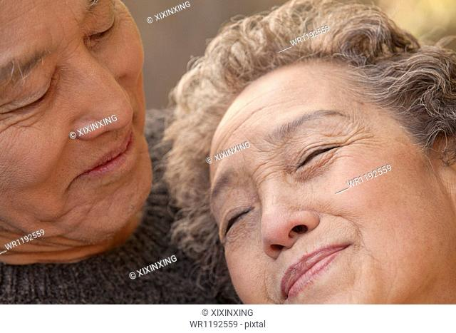 Close Up Portrait of Romantic Senior Couple