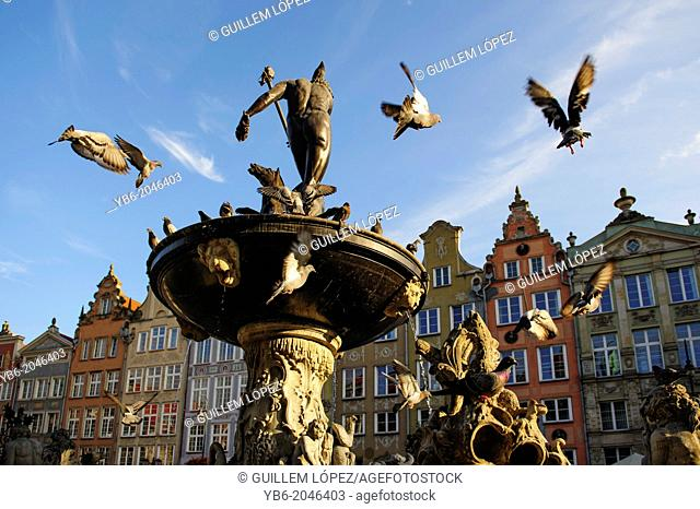 Neptune fountain with pigeons flying around at the city centre of Gdansk, Poland