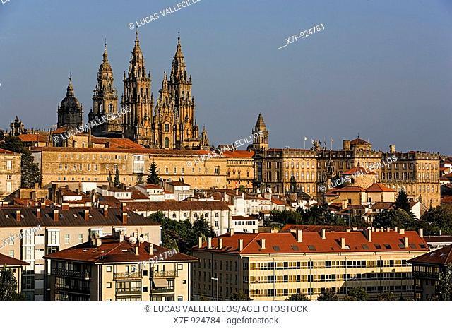 Cathedral and old city Santiago de Compostela Coruña province Spain  Camino de Santiago