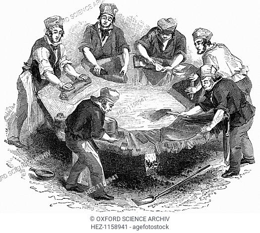 Making beaver hats, 1841. Although called beaver hats, a certain amount beaver fur was only used in the most expensive examples
