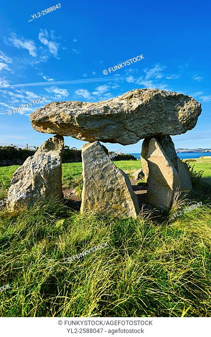 Carreg Samson or Samsonâ. . s Stone, a 5000 year old Neolithic dolmen burial chamber, near Abercastle, Pembroke, Wales
