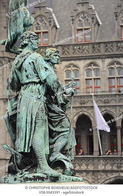 Belgium, Bruges, World Heritage Site, Markt square, Statue of Jan Breydel and Pieter de Coninck, heroes of Flemish identity