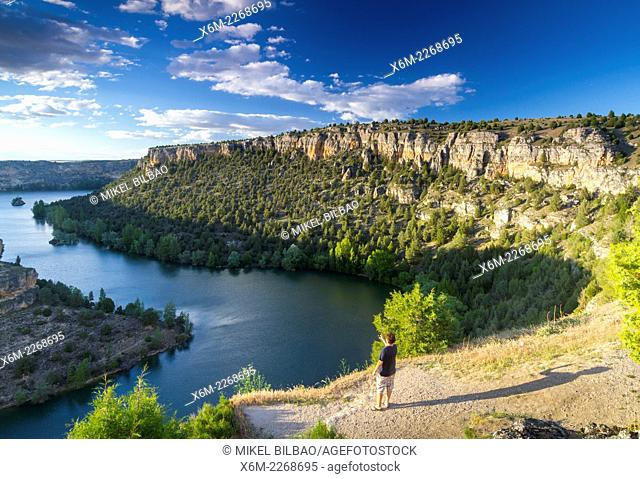 River and gorge near San Frutos hermitage. Hoces del Rio Duraton Natural Park. Segovia, Castile and Leon, Spain, Europe