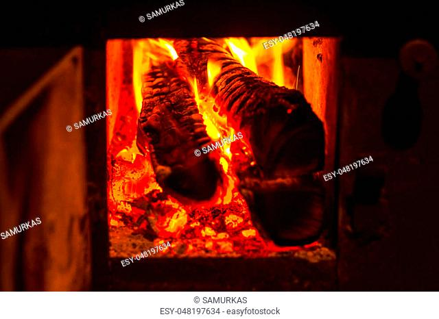 wood stove burning in a private house