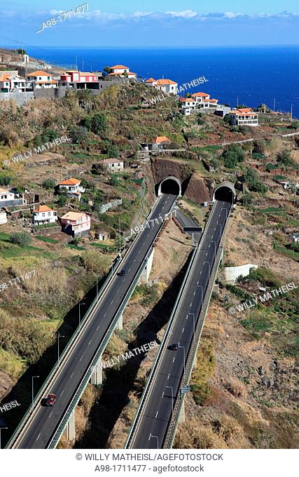Tunnel and highway on Madeira Island, Portugal, Europe