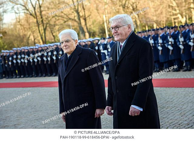 18 January 2019, Berlin: Sergio Mattarella (l), President of the Republic of Italy, and Federal President Frank-Walter Steinmeier (SPD) walk together in the...
