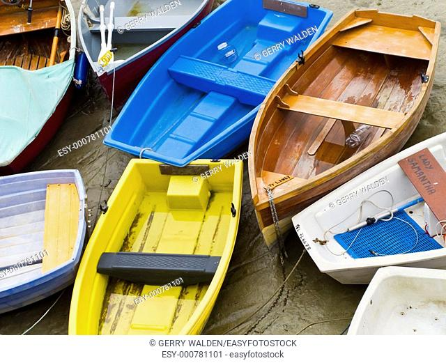 Small dinghies in the harbour at St  Aubin on the island of Jersey in the Channel Islands