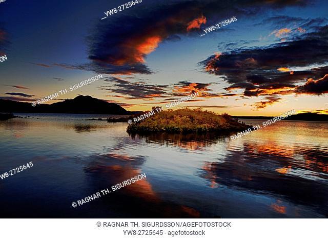 Sunset over Lake Thingvellir, Thingvellir National Park in the autumn, Iceland. Unesco World Heritage Site