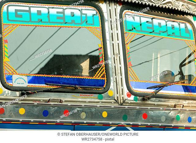 Nepal, Central Region, Chandragiri, Annapurna Circuit - Journey Pokhara, Jhobang to Kathmandu - Great Nepal, windshield of a truck in Nepal