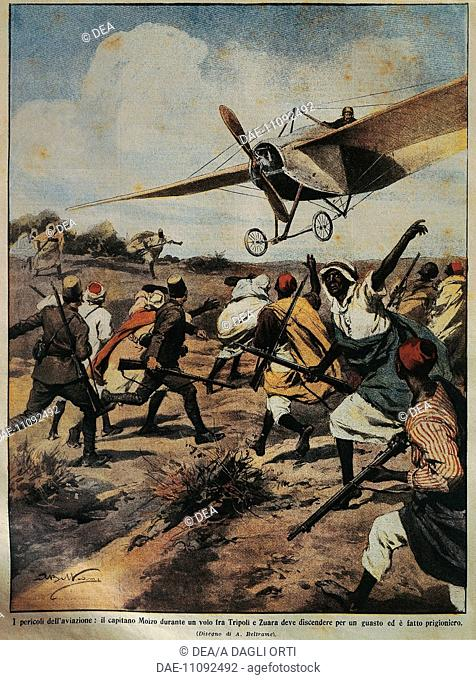 Captain Moizo attempting a crash landing during the African Campaign. Illustrator Achille Beltrame (1871-1945), from La Domenica del Corriere
