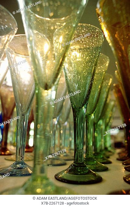 Biot. France. Locally made wine glasses showing air bubbles (boules) in the glass, a style typical of Biot