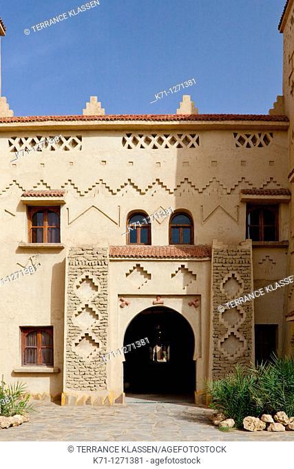 Exterior of the Hotel Kasbah Xaluca in Erfoud, Morocco
