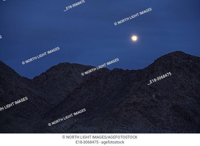 USA, California, Joshua Tree National Park. Moon rising over the Pinto Mountains