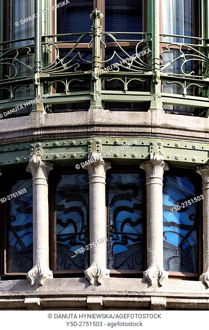 Detail of Hotel Tassel town house built by Victor Horta for the Belgian scientist and professor Emile Tassel in 1893–1894, first true Art Nouveau building