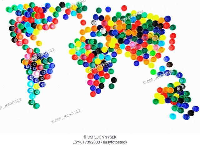 world map from plastic caps