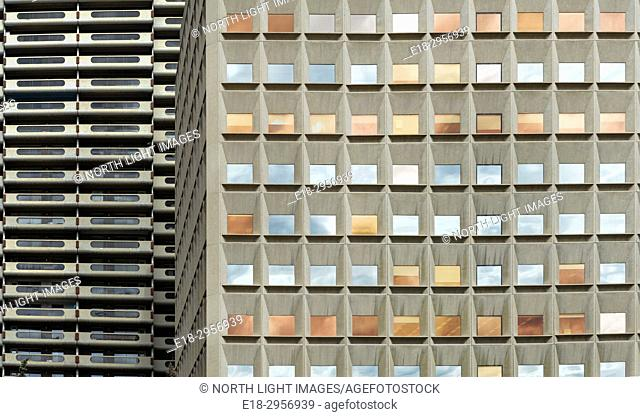 Canada, Alberta, Calgary. Architectural detail of modern building in downtown city center
