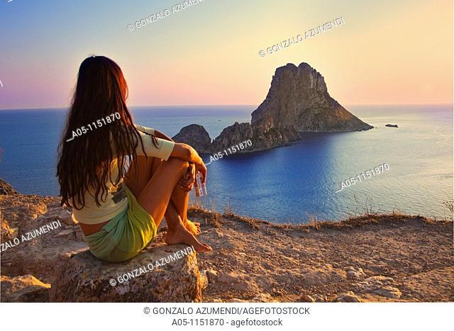 Sunset in es Vedrá. Sant Josep de sa Talaia. Ibiza. Balearic Islands. Spain