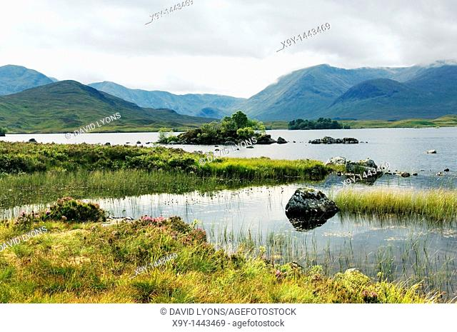 West over Lochan na h-Achlaise in Black Mount area of the south end of Rannoch Moor southeast of Glencoe  Highlands, Scotland