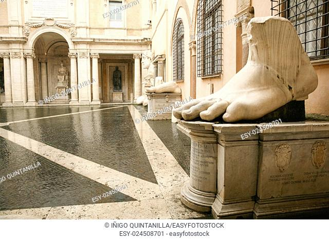 foot and parts of sculpture Colossus of Emperor Constantine, in Capitoline museums, in Rome, Italy, Europe. Made in century IV a. c