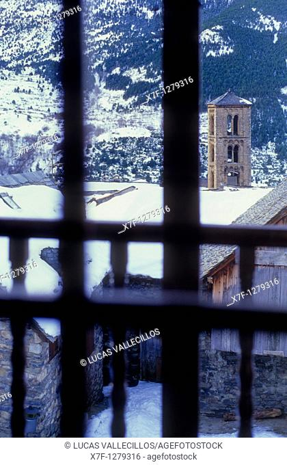 At right belltower of Santa Maria church Romanesque church Taüll  Boí valley Lleida province  Catalonia  Spain