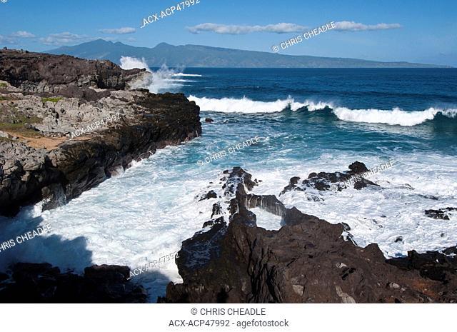 Shorline at Kapalua, Lanai in distance, Maui, Hawaii, United States of America