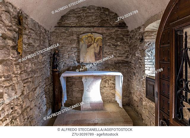 Assisi (Italy): detail of a small medieval altar dedicated to St. Francis of Assisi