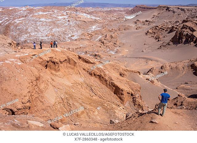 Valle de la Luna (Valley of the Moon) and salt deposited on the ground, Atacama desert. Region de Antofagasta. Chile