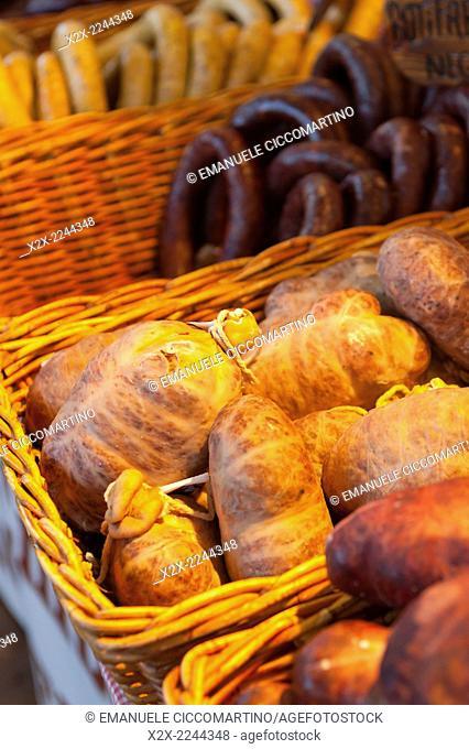 Cold meat at rural fair, Eivissa, Ibiza, Balearic Islands, Spain, Mediterranean, Europe