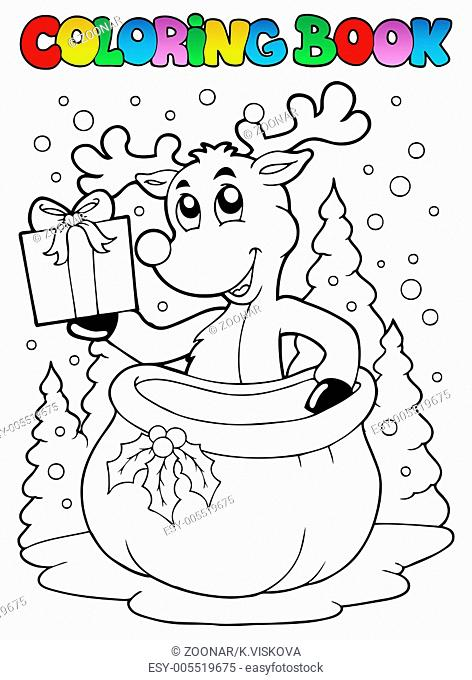 Coloring book reindeer theme 2 - picture illustration